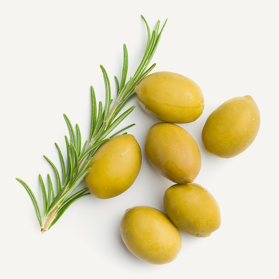 Green olives and rosemary branch isolated on white background.